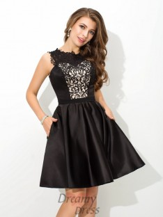 A-line Scoop Lace Short Satin Cocktail Dress
