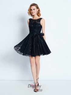 A-Line Scoop Lace Sleeveless Short Dress with Sash/Ribbon/Belt