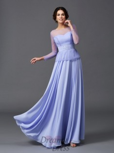 A-line Scoop Long Sleeves Ruffles Long Chiffon Mother of the Bride Dress