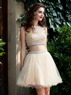 9caab4624b531 A-Line Scoop Net Sleeveless Short Two Piece Homecoming Dress with Beading