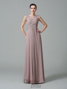 A-line Scoop Ruched Floor-Length Chiffon Bridesmaid Dress