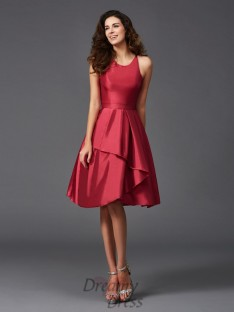A-line Scoop Ruffles Knee-Length Taffeta Bridesmaid Dress