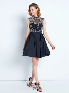 A-Line Sleeveless High Neck Short Satin Dress with Beading
