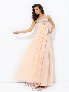 A-line Spaghetti Strap Chiffon Long Dress