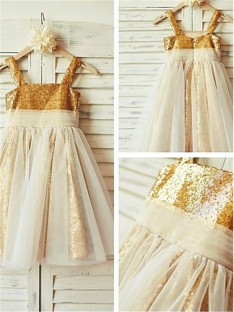 A-line Spaghetti Straps Tea-length Sequins Flower Girl Dress