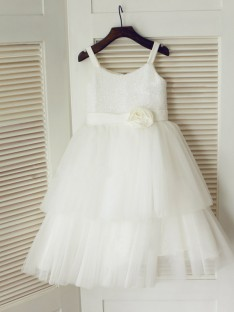 A-line Spaghetti Straps Floor-length Tulle Flower Girl Dresses with Hand-made Flower