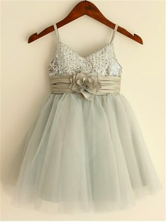 A-line Spaghetti Straps Tea-Length Tulle Flower Girl Dress