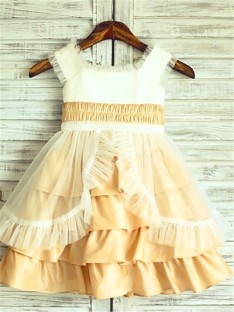 A-line Square Layers Tea-Length Satin Flower Girl Dress
