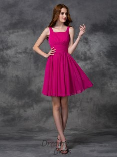 A-line Square Short Chiffon Bridesmaid Dress