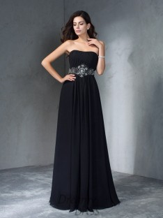 A-line Strapless Chiffon Long Dress
