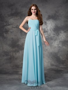 A-line Strapless Ruched Floor-length Chiffon Bridesmaid Dress
