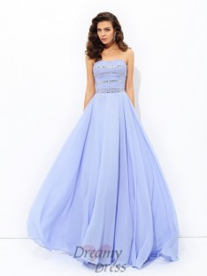 A-line Strapless Sweep/Brush Train Chiffon Dress