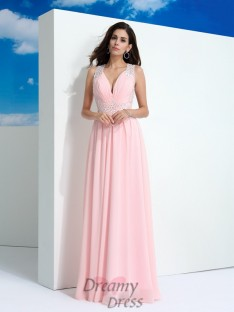 A-line Straps Chiffon Long Dress