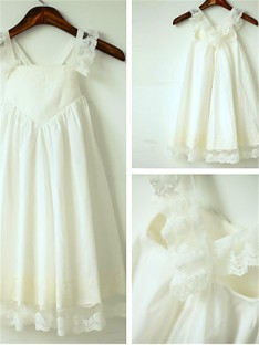 A-line Straps Ankle-length Chiffon Flower Girl Dress