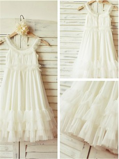 A-line Straps Tea-length Chiffon Flower Girl Dress