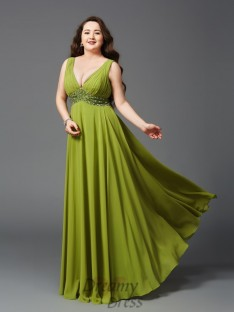 A-line Straps Floor-Length Chiffon Plus Size Dress