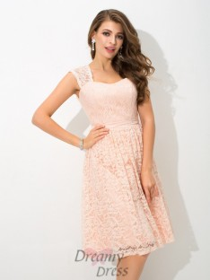 A-line Straps Lace Knee-Length Lace Bridesmaid Dress