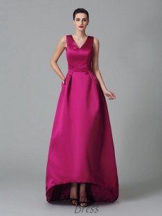A-line Straps Ruched Asymmetrical Satin Bridesmaid Dress