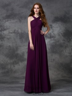 A-line Straps Ruched Floor-length Chiffon Bridesmaid Dress
