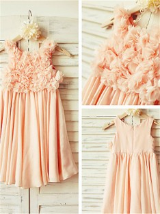 A-line Straps Ruched Tea-length Chiffon Flower Girl Dress