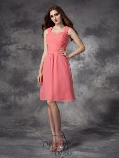 A-line Straps Ruched Knee-Length Chiffon Bridesmaid Dress