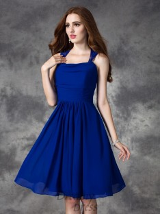 A-line Straps Ruffles Short Chiffon Bridesmaid Dress