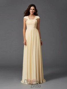 A-line Straps Ruffles Sweep/Brush Train Chiffon Bridesmaid Dress