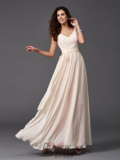 A-line Straps Sash/Ribbon/Belt Floor-Length Chiffon Bridesmaid Dress