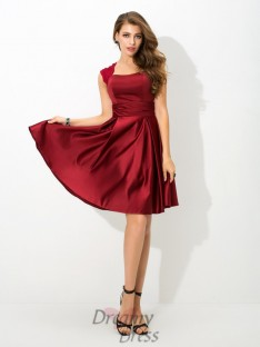 A-line Straps Short Satin Bridesmaid Dress