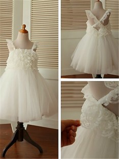 A-line Straps Tea-Length Organza Flower Girl Dress