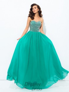 A-line Sweetheart Chiffon Long Dress