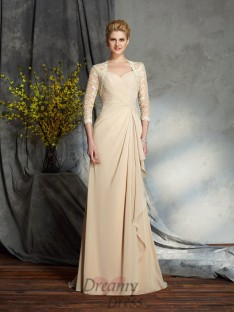 A-line Sweetheart Lace Chiffon Sweep/Brush Train Mother of the Bride Dress