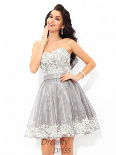 A-line Sweetheart Lace Short Tulle Cocktail Dress