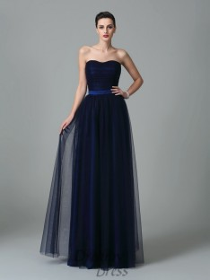 A-line Sweetheart Ruffles Floor-Length Net Bridesmaid Dress
