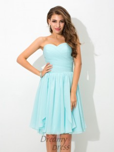 A-line Sweetheart Short Chiffon Bridesmaid Dress