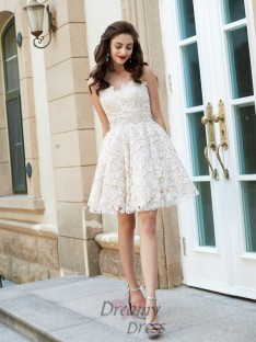 A-Line Sweetheart Sleeveless Short Lace Dresses