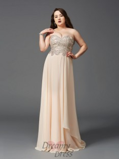 A-line Sweetheart Sweep/Brush Train Chiffon Plus Size Dress