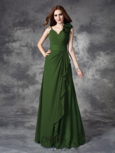 A-line V-neck Hand-Made Flower Chiffon Long Dress