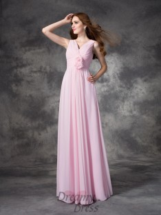 A-line V-neck Hand-Made Flower Floor-Length Chiffon Bridesmaid Dress