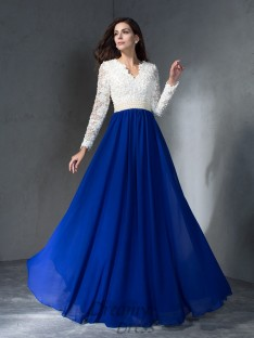 A-line V-neck Long Sleeves Chiffon Long Dress