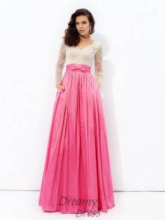 A-line V-neck Long Sleeves Lace Floor-Length Taffeta Dress