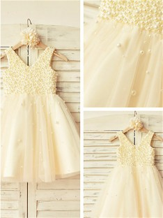 A-line V-neck Pearls Tea-Length Tulle Flower Girl Dress