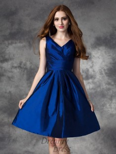 A-line V-neck Ruched Short Taffeta Bridesmaid Dress