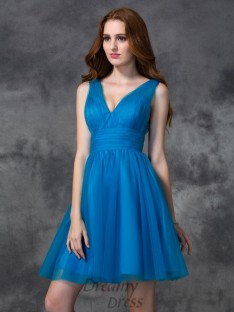 A-line V-neck Short Satin Bridesmaid Dress