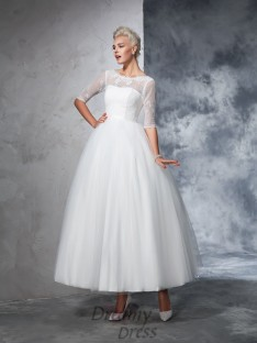 Ball Gown 1/2 Sleeves Bateau Net Ankle-Length Lace Wedding Dress