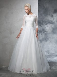 Ball Gown 3/4 Sleeves Jewel Organza Floor-Length Wedding Dress