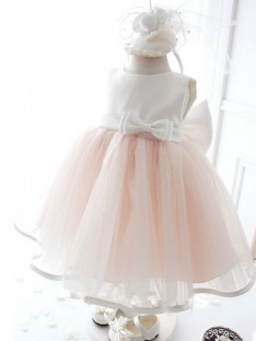Ball Gown Jewel Floor-length Organza Flower Girl Dresses with Bowknot