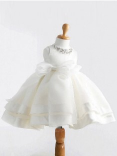 Ball Gown Jewel Floor-length Satin Flower Girl Dresses with Bowknot