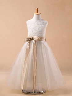 Ball Gown Jewel Tulle Tea-Length Flower Girl Dresses with Bowknot