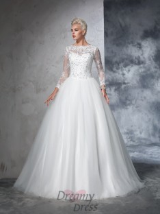4c8d6713654 Ball Gown Long Sleeves Bateau Net Lace Sweep Brush Train Wedding Dress